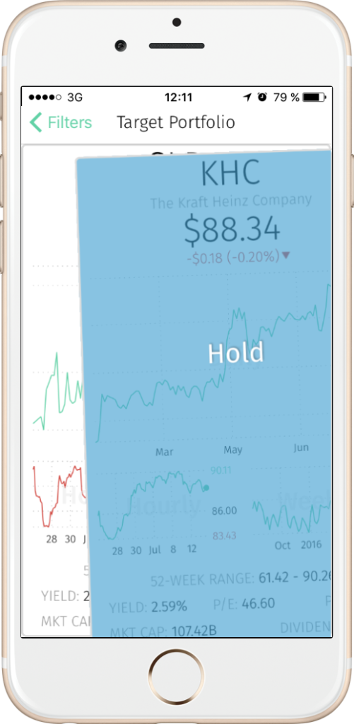"Swipe right to add a stock to your watchlist with Sentiment ""Hold"""